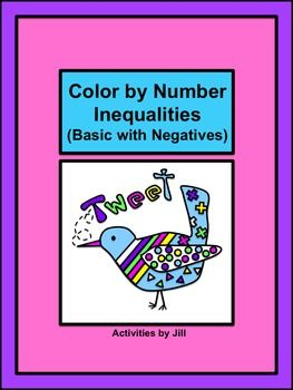 Inequalities (One and Two Step with Negatives) Color by Number ...