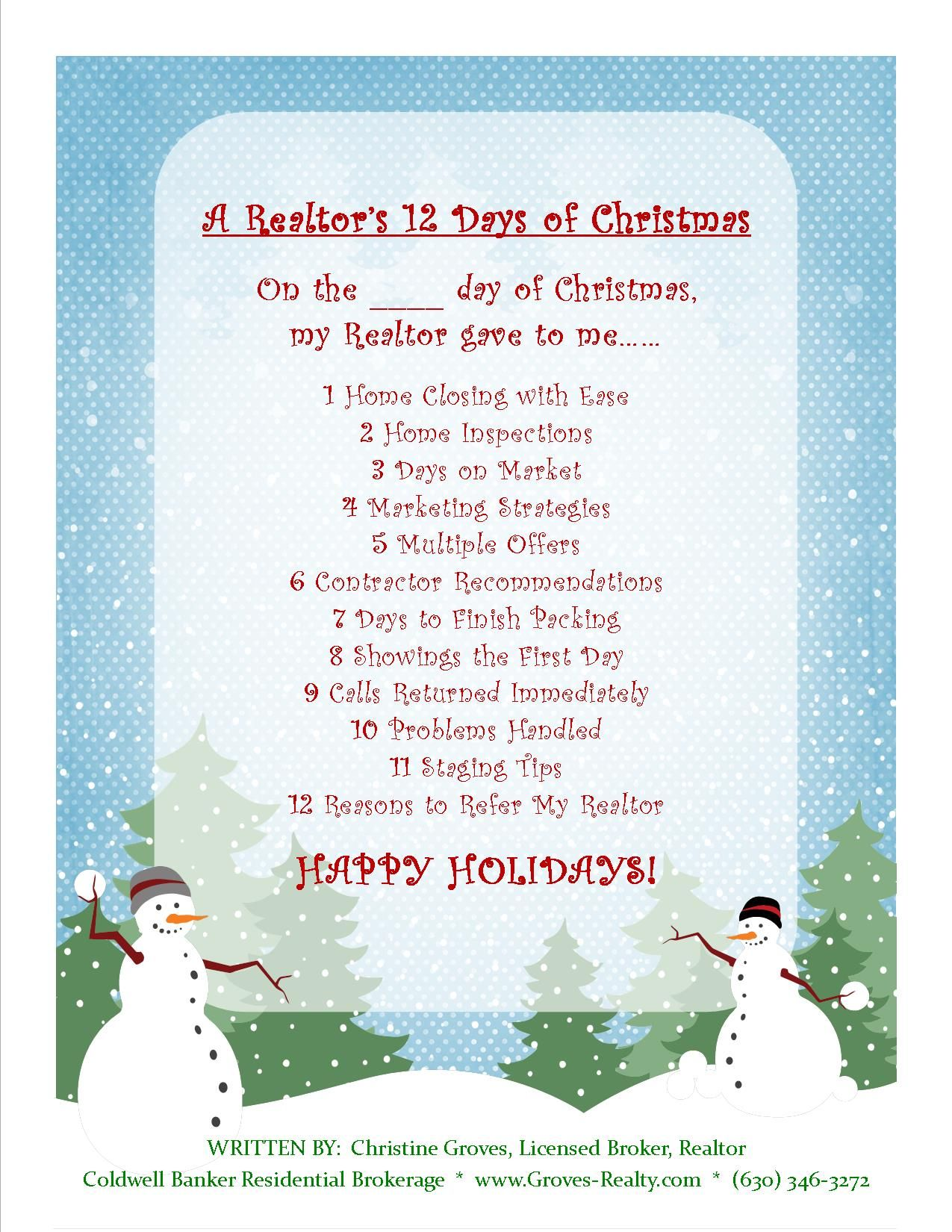 Happy Holidays From Groves Realty Coldwell Banker Residential In Chicagoland Real Estate Humor 12 Days Of Christmas Chicagoland
