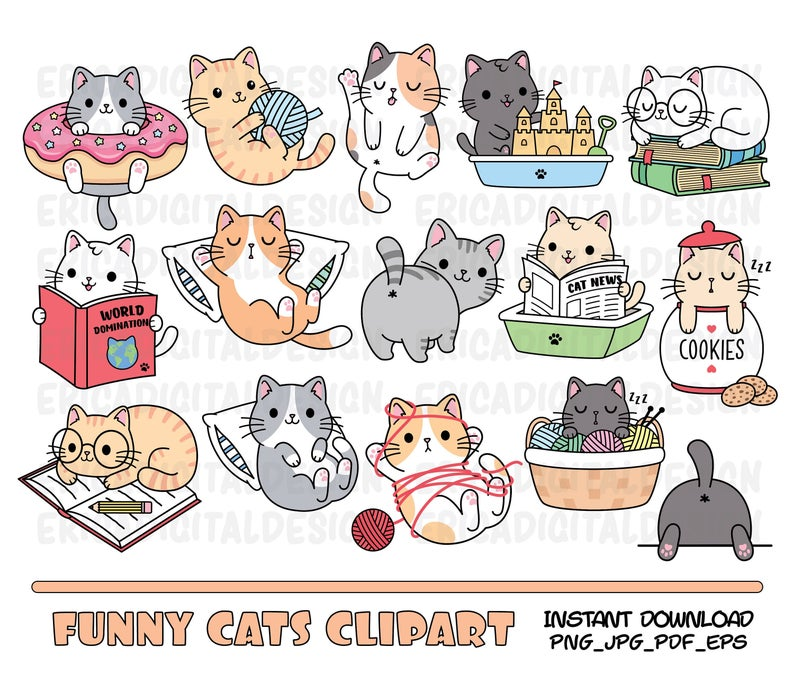 Funny Cats Clipart Cute Cat Clip Art Kawaii Kitten Kitty Icons Pet Illustrations Printable Stickers Planner Supplies Vector Commercial Use Kitten Drawing Cat Clipart Kawaii Cat Drawing