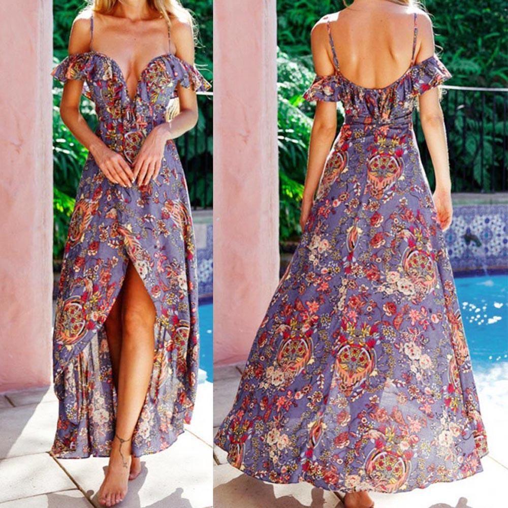 d933b524fcb5 2018 maxi summer dress Women Sexy Summer Printing Boho Maxi Long Evening  Party Beach Dress Sundress
