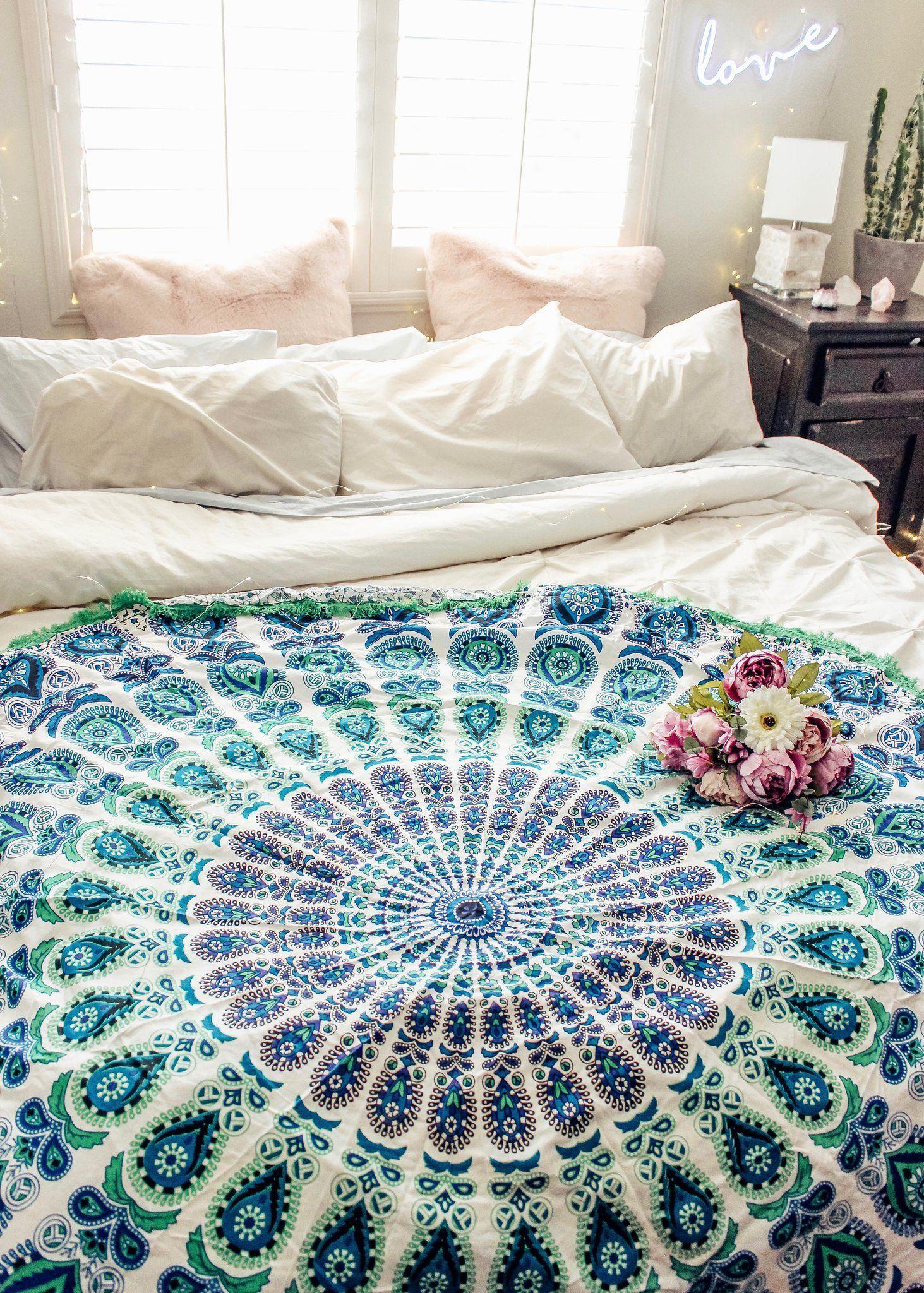 Aquamarine Mandala Tapestry Ladyscorpio101 Living room