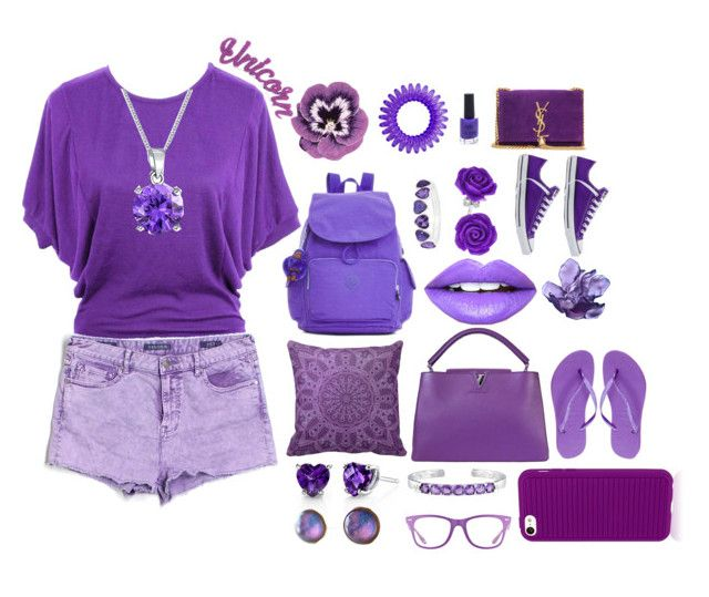 """Purple"" by soffis24 ❤ liked on Polyvore featuring jon & anna, Fiebiger, Yves Saint Laurent, Louis Vuitton, Kipling, New Look, Nourison, Bling Jewelry, Liz Claiborne and Vigoss"