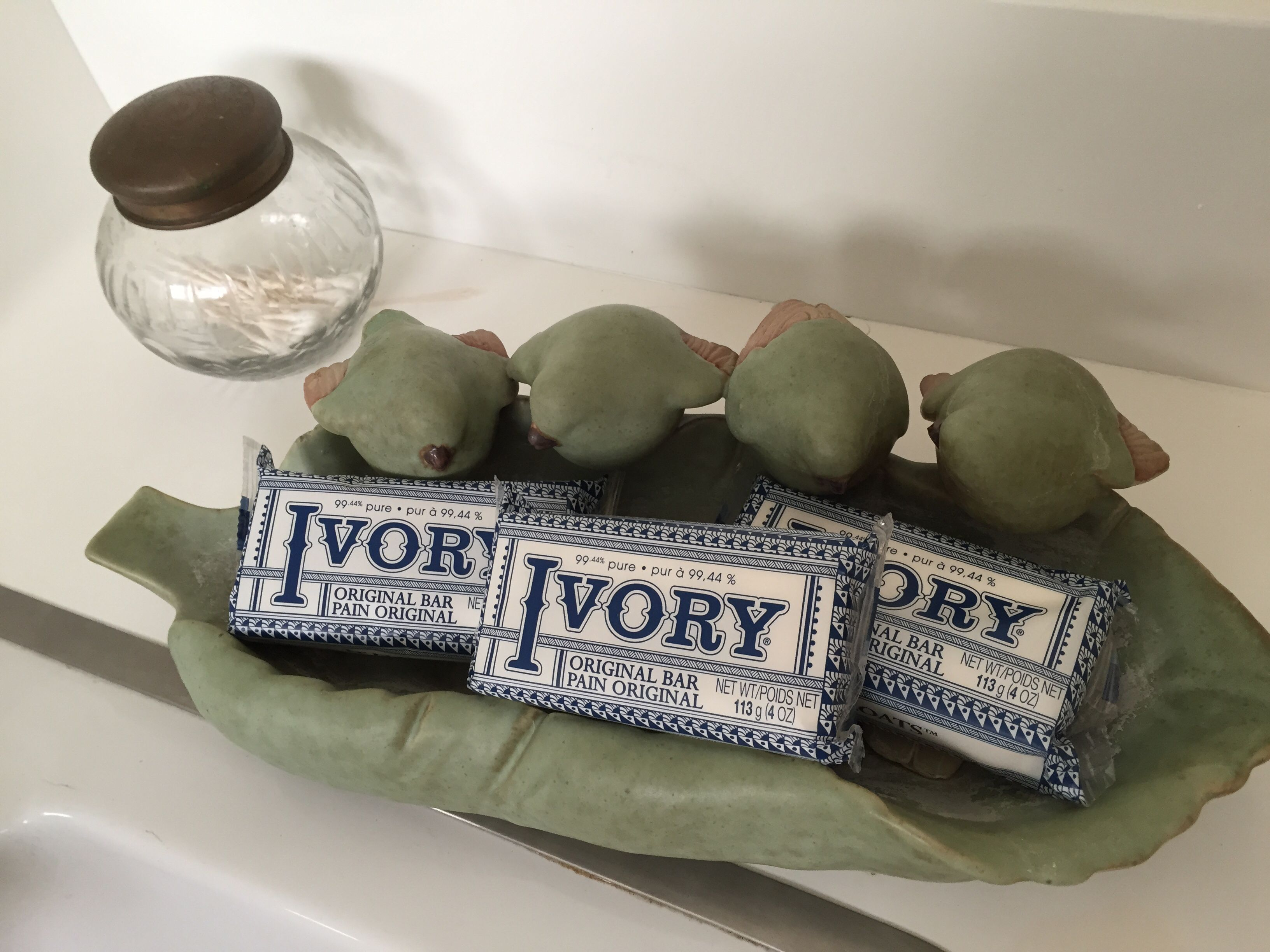 "Good ol' Ivory™ soap. Love this vintage packaging I spotted at the Rite Aid last week (just a buck a bar)! And the soap ""dish"" is an old birdbath."