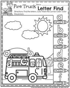 back to school preschool worksheets preschool worksheets alphabet truck lettering and fire trucks. Black Bedroom Furniture Sets. Home Design Ideas