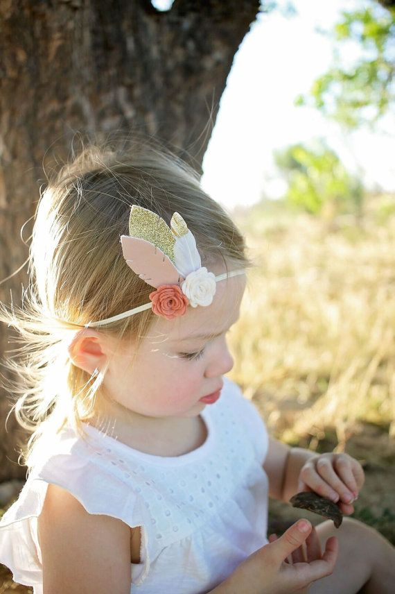 ec90af049bf Flower and feather headband - newborn through adult - boho headband ...