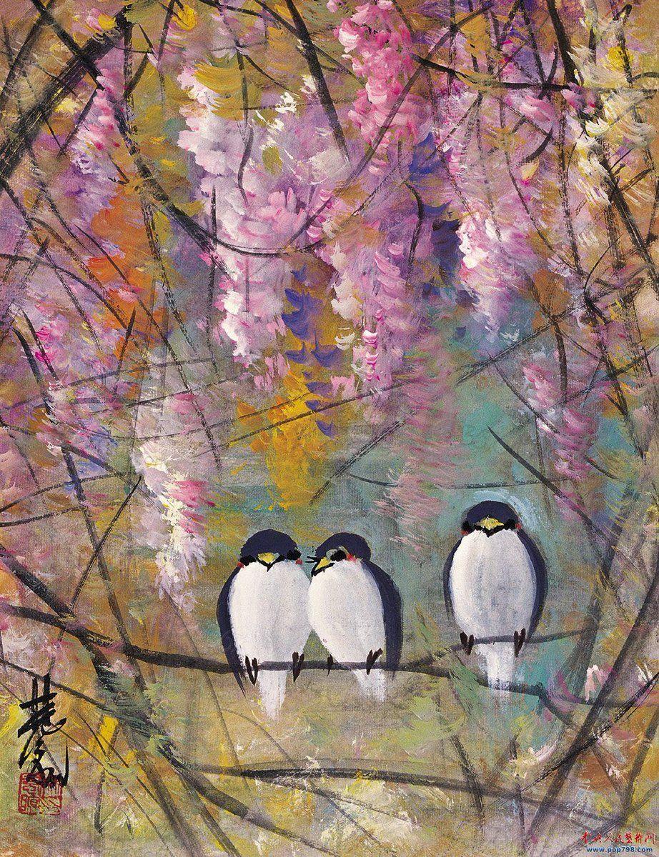 Three Birds Lin Fengmian Bird Art Art Painting