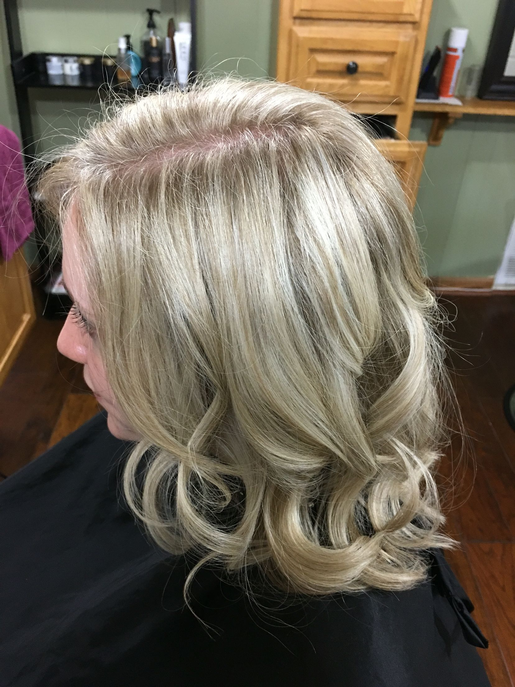 Icy Blonde Highlights w Beige Lowlight Updo Hairstyle