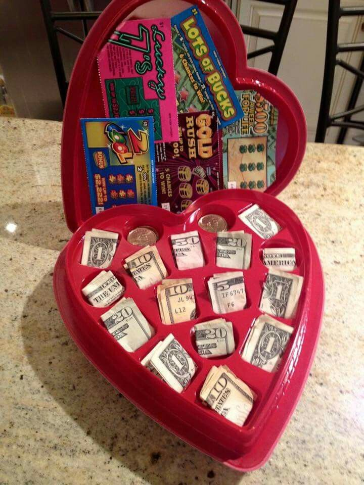 Great Gift Idea For The Boys Although I Will Be Using Smaller Bills Diy Valentines Gifts Valentine S Day Gift Baskets Creative Valentines