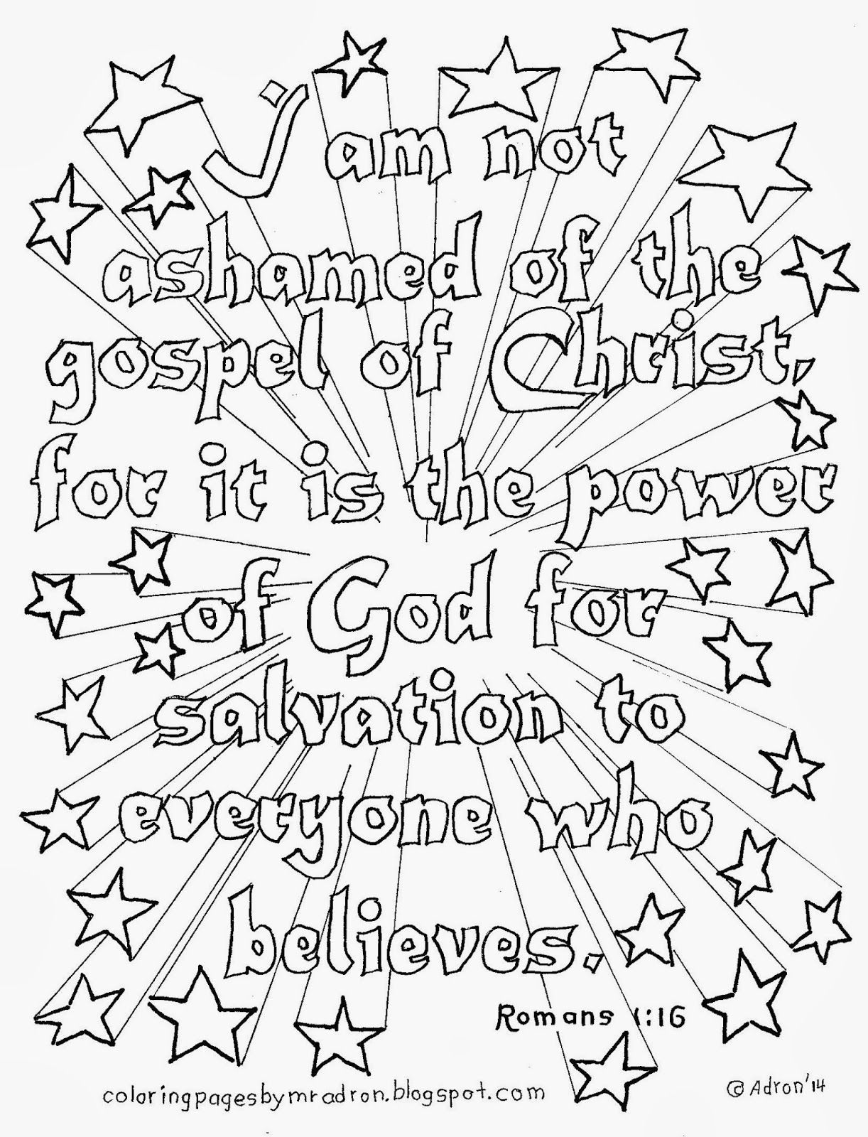 Romans 1:16 coloring page, see more at my blog. http ...