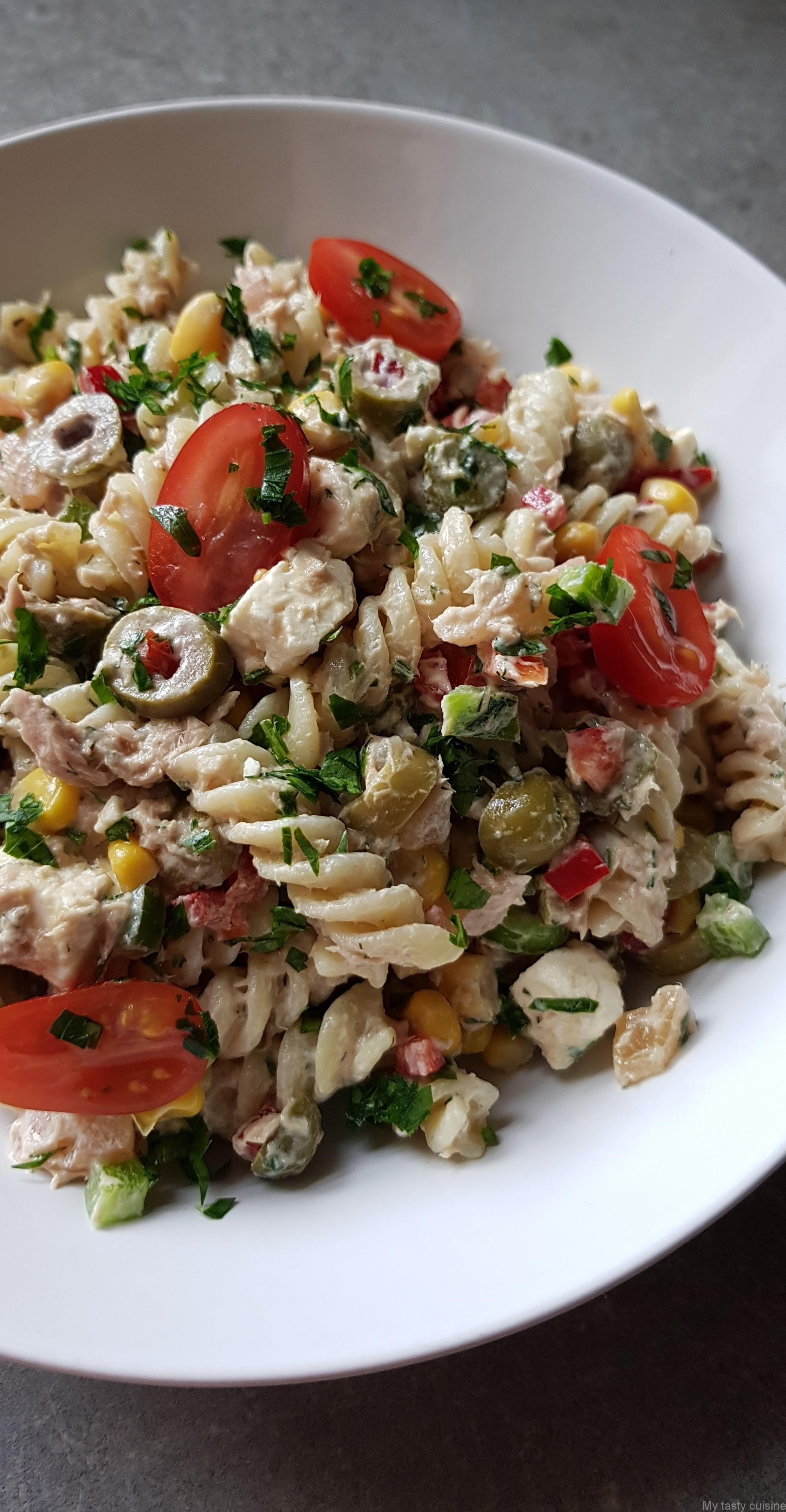 Salade de pâtes composée | Recette salade de pates, Recette salade, Salade de pâtes