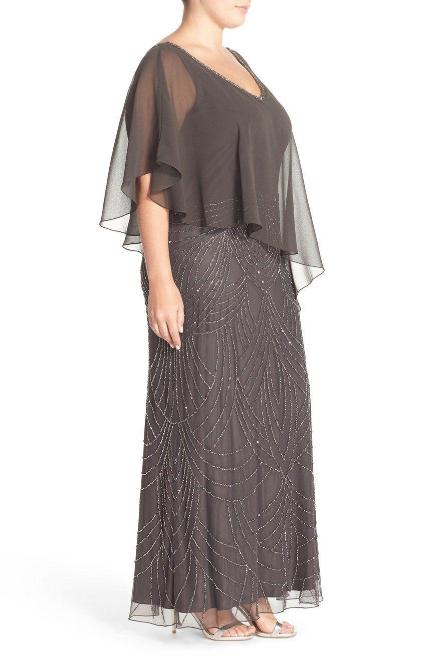 Hauptbild – J Kara – Verziertes langes Kleid aus Chiffon (Übergröße), #Chiffon #Kleid #Emb …
