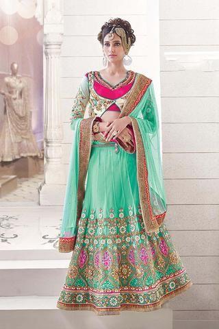 Green Netted Indian Buy Designer Lehenga Online Dress