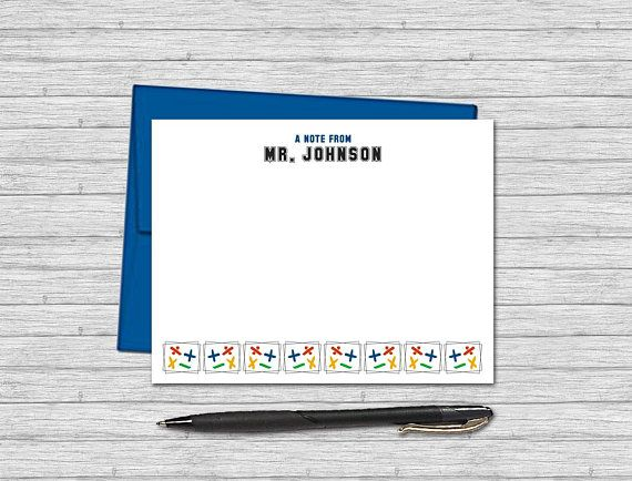 personalized flat note cards for math teachers custom stationery for teachers design math symbols - Personalized Flat Note Cards
