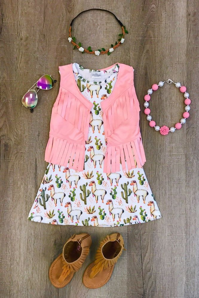 fb64d86f4 NEW Llama Boutique Dress Girl s Summer Spring pink fringe vest ...