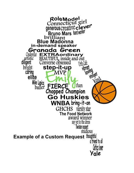 Personalized Basketball Player Word Art Girl Basketball Digital Wall Art Personalized Girl Basketball Player Gift Printable Digital File In 2021 Basketball Girls Basketball Gifts Personalized Basketball