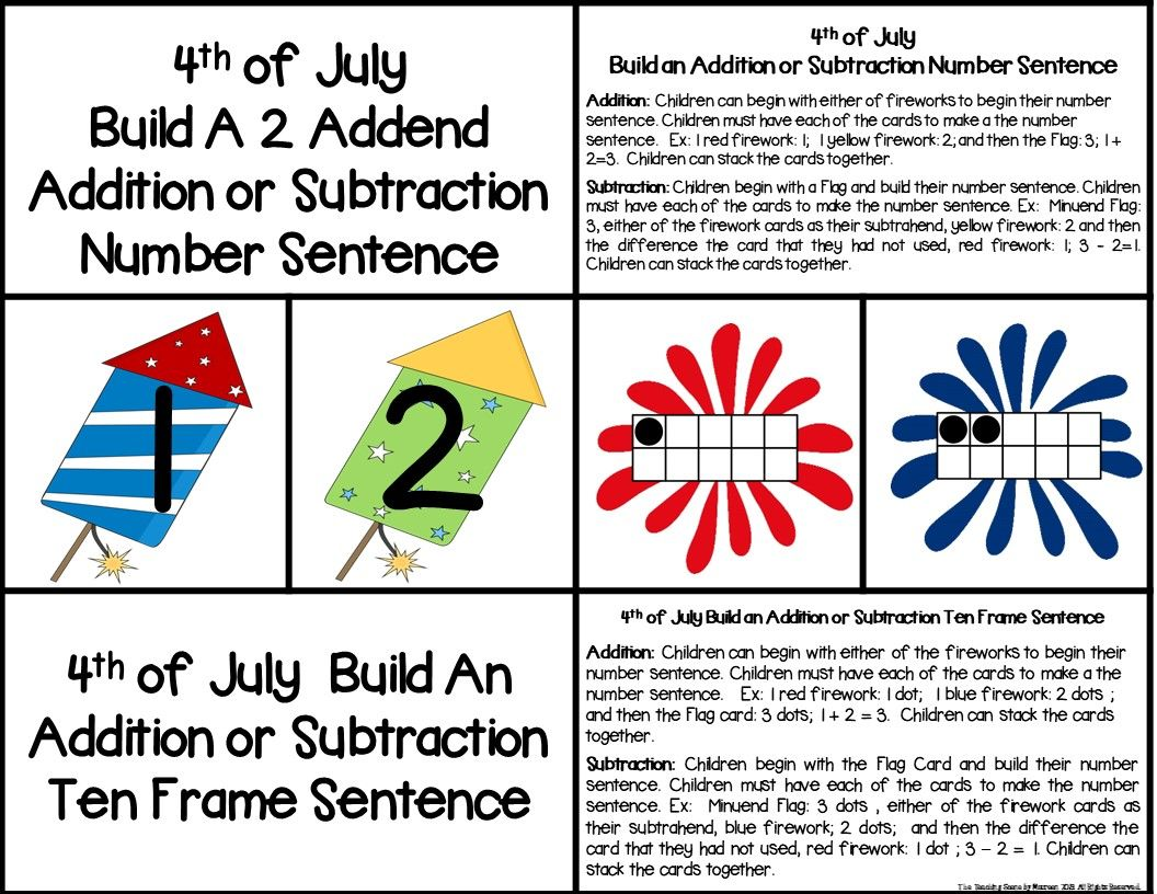 4th Of July 2 Addend Addition Amp Subtraction With Ten