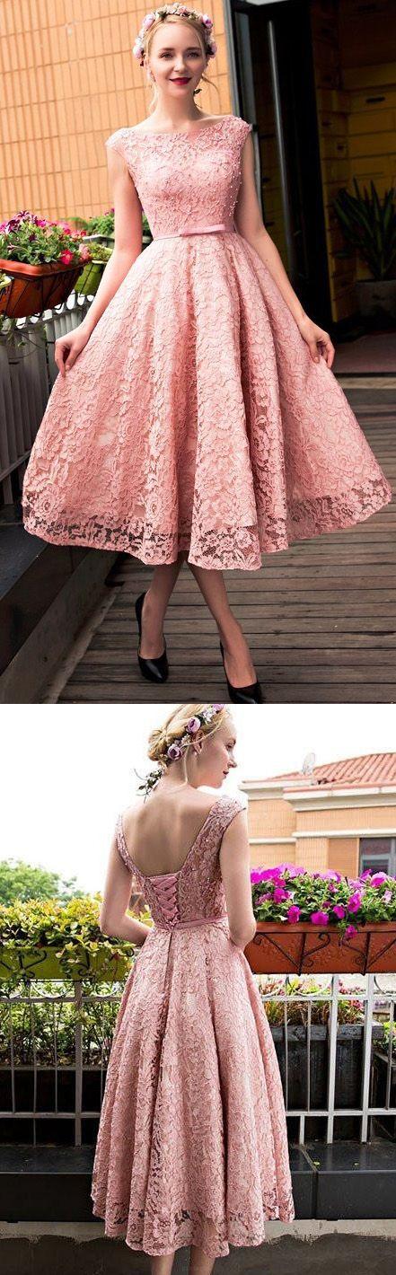 Pink Tea-length Dress #shortpromdresses