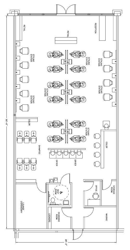 Beauty salon floor plan design layout 1933 square foot for Business plan salon de coiffure pdf