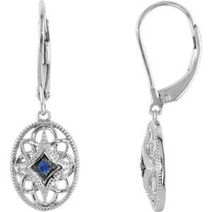 Sterling Silver Sapphire Lever Back Earrings