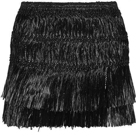1f761e4919b0 Isabel Marant Copal fringed faux raffia mini skirt on shopstyle.com ...