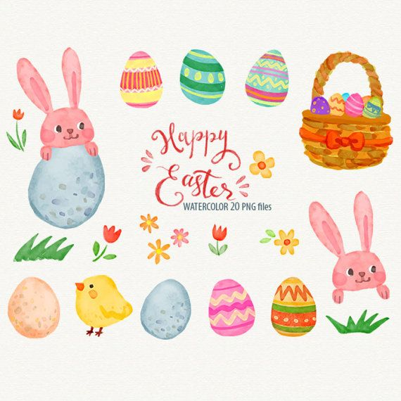 Easter egg watercolor. Happy clipart rabbit clip