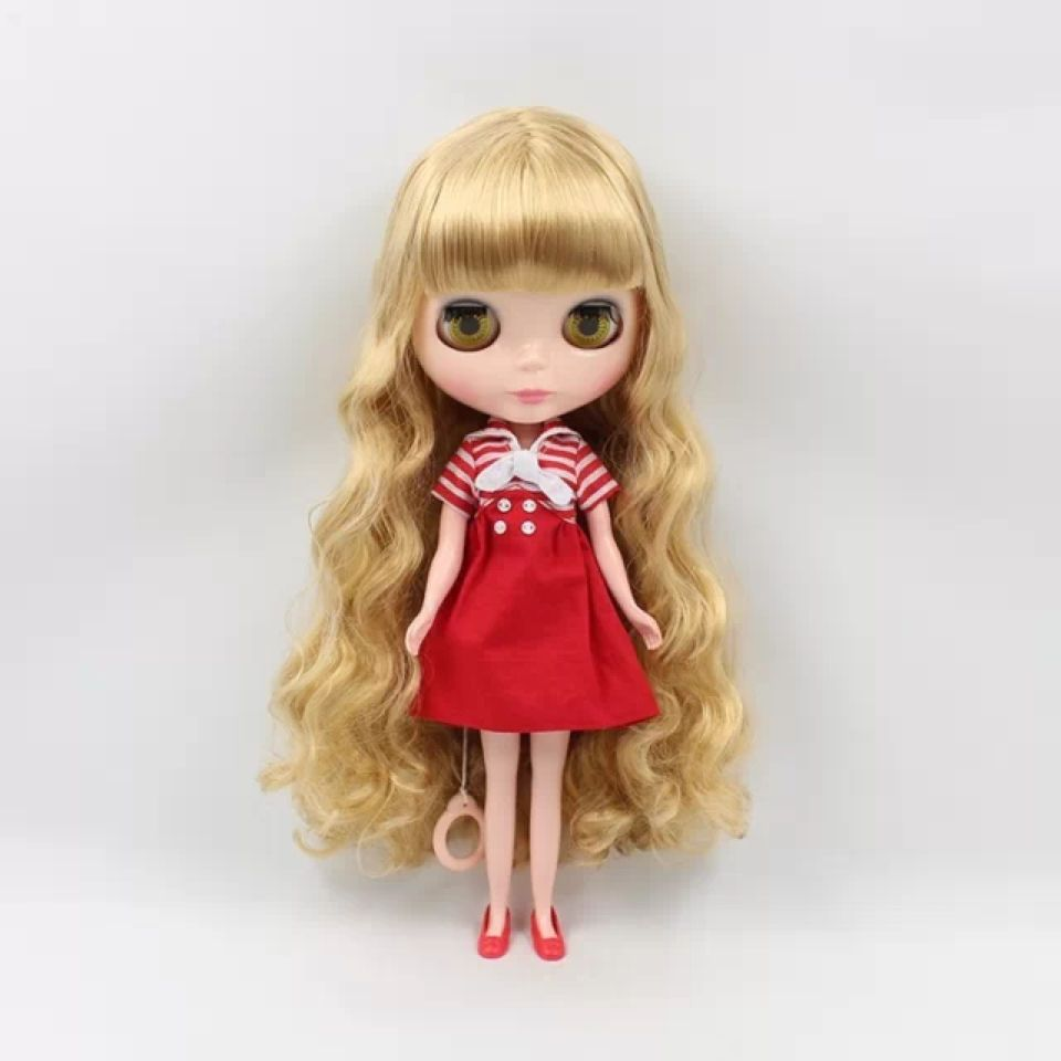 """12/"""" Neo Blythe Doll From Factory Jointed Body Light Pink Short Curly Hair"""