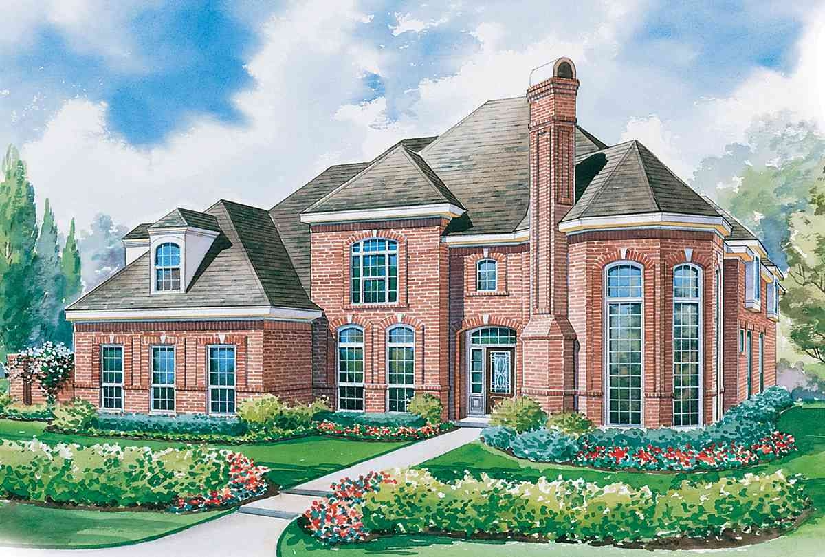 Plan 41934db Stately 4 Bed Home Plan With Semi Circular Stair Monster House Plans Mediterranean House Designs Dream House Exterior