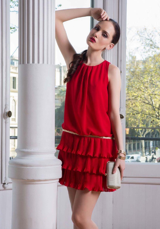 Vestido coctel rojo corto