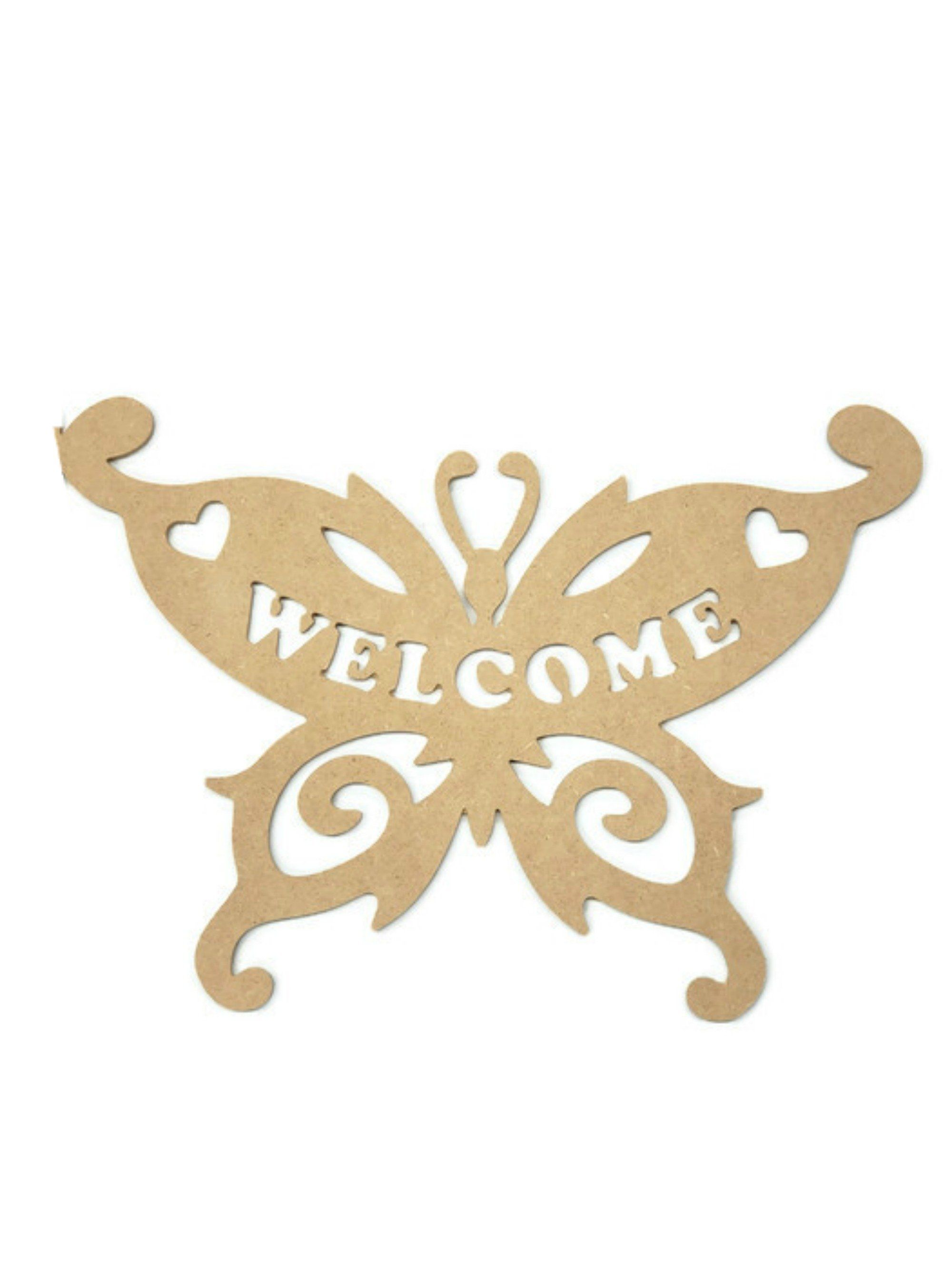 Welcome Butterfly Wood Cutout - Unfinished Wood | Michelle's