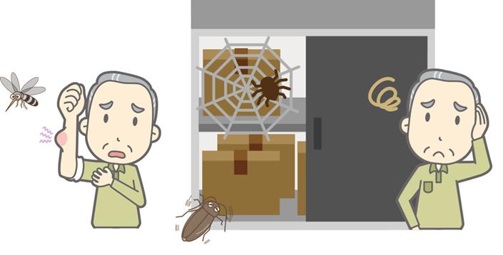 虫の侵入を防ぎたい 蜘蛛の巣 虫 イラスト