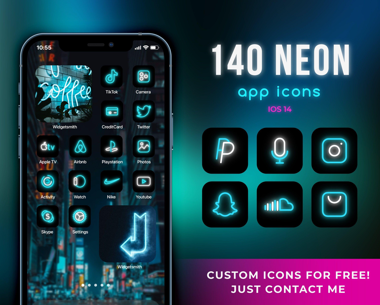 140 App Icons For Ios 14 Neon App Covers Ios 14 Widgets Etsy App Icon App Covers Homescreen