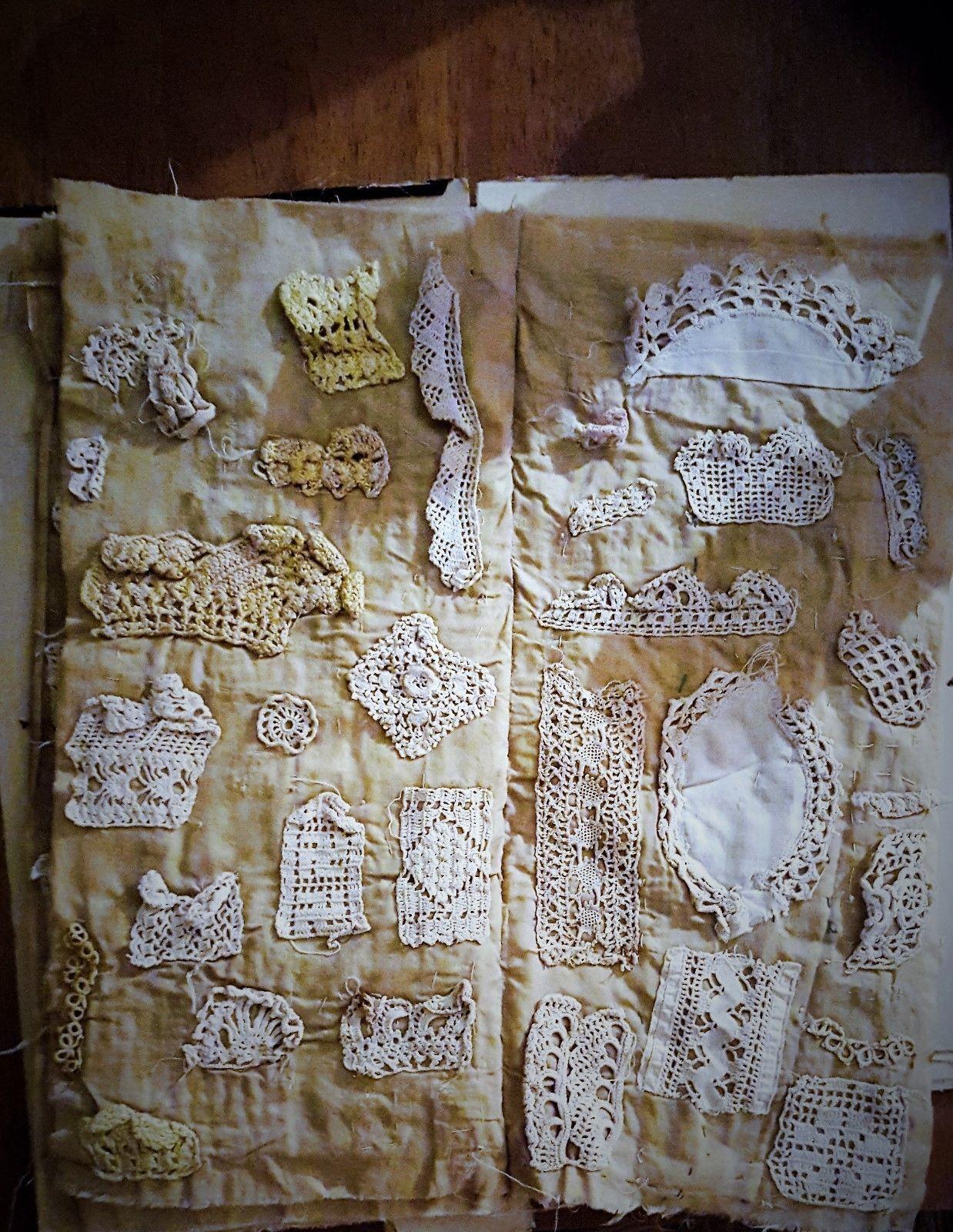 Rare Antique Hand Made Lace Needlework Crochet Sampler
