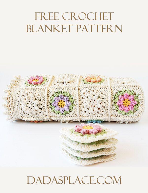 Free Crochet Pattern: Primavera Flower Blanket by Dada's place