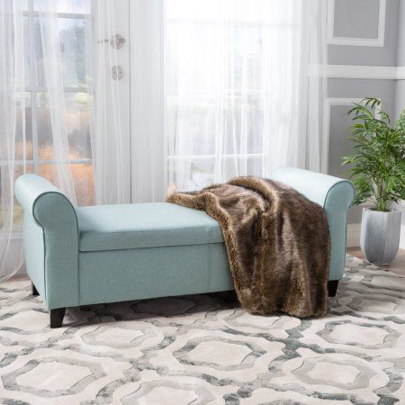 Enjoyable Noble House Haynes Armed Light Blue Fabric Storage Bench Evergreenethics Interior Chair Design Evergreenethicsorg