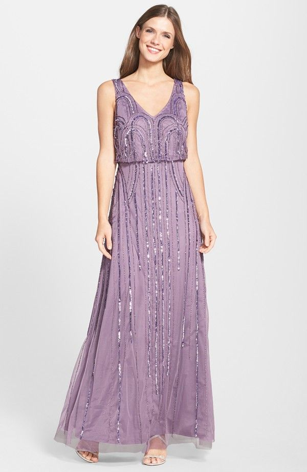 Adrianna Papell Beaded Mesh Blouson Gown Nordstrom