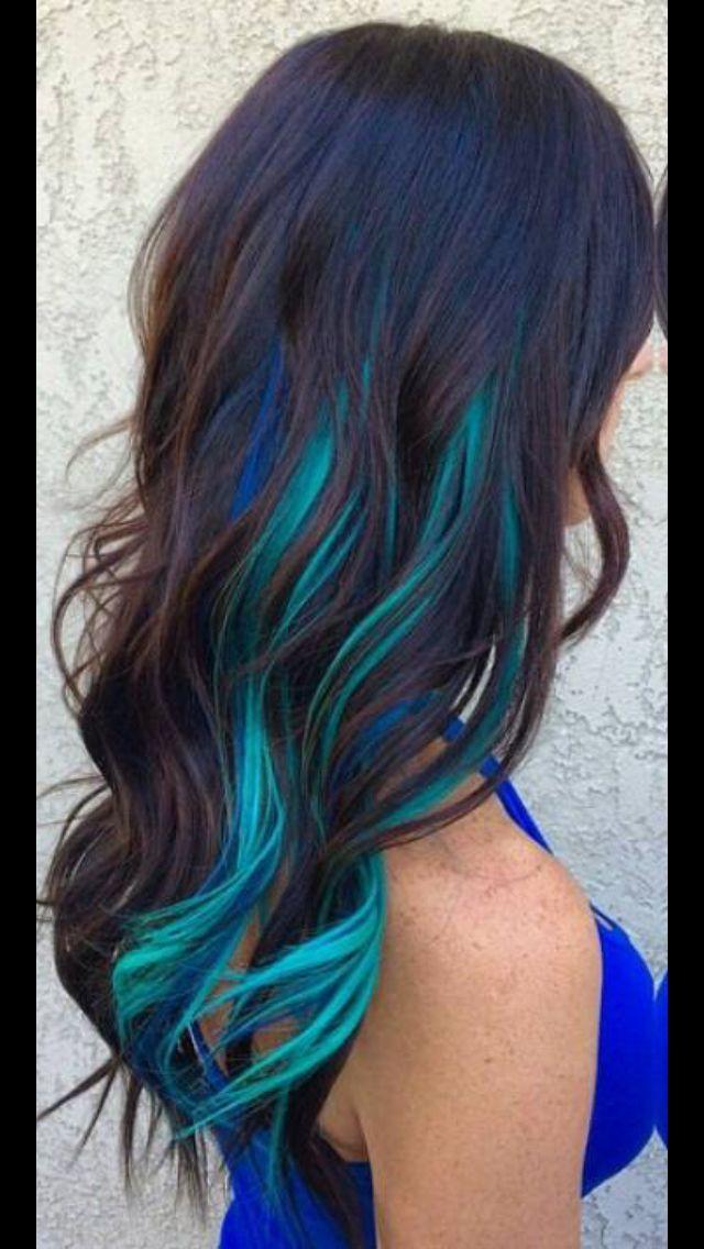 Blue Peekaboo Highlights Dark Hair Image Collections Hair