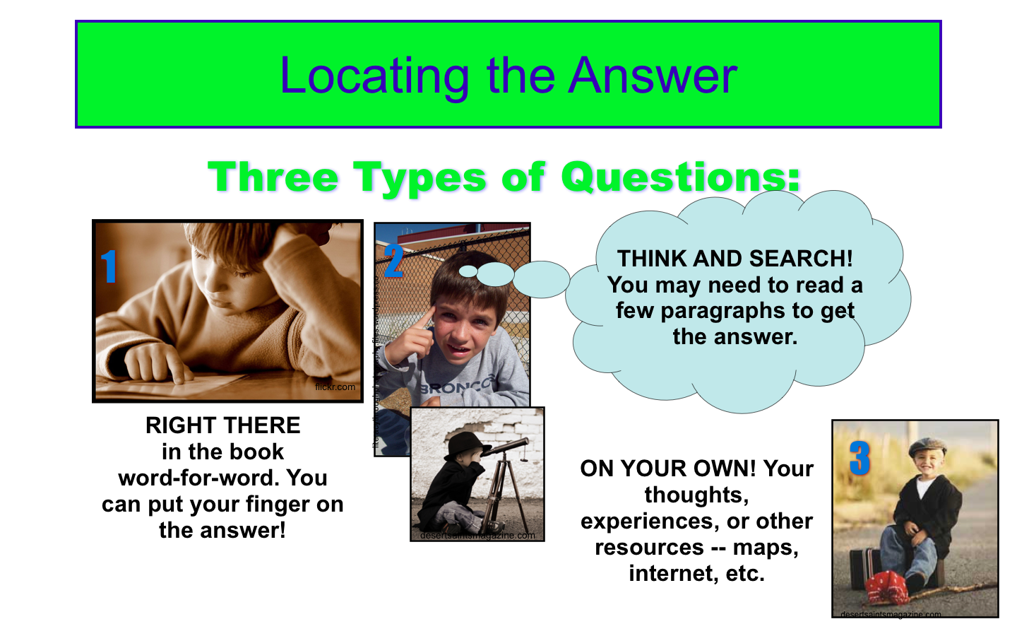 Powerpoint Reading Poster Locating The Answer Qar Help Students Recognize The Three Main