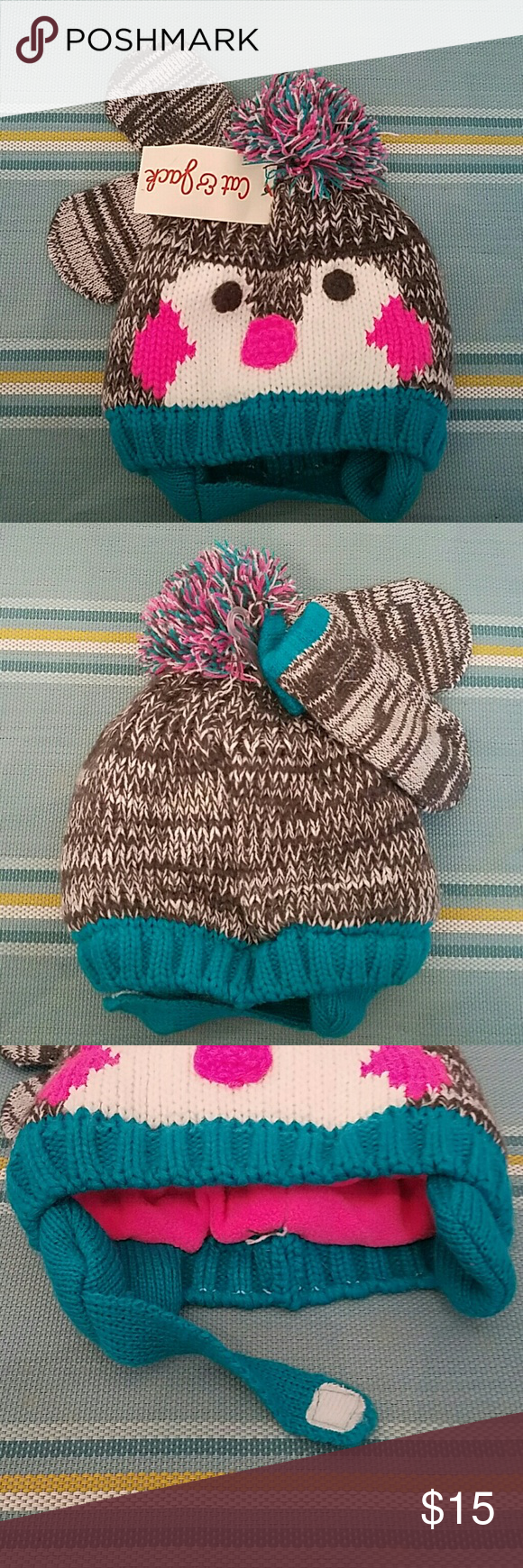 NWT Cat & Jack Infant Penguin Hat and Mitten Set A 2 piece set with mittens to keep your child warm. Hat is fleece lined with a velcro closure. Cute pom pom on top. Tags: kids child infant baby hat mittens gloves winter cold outerwear animal fall Cat & Jack Accessories Hats