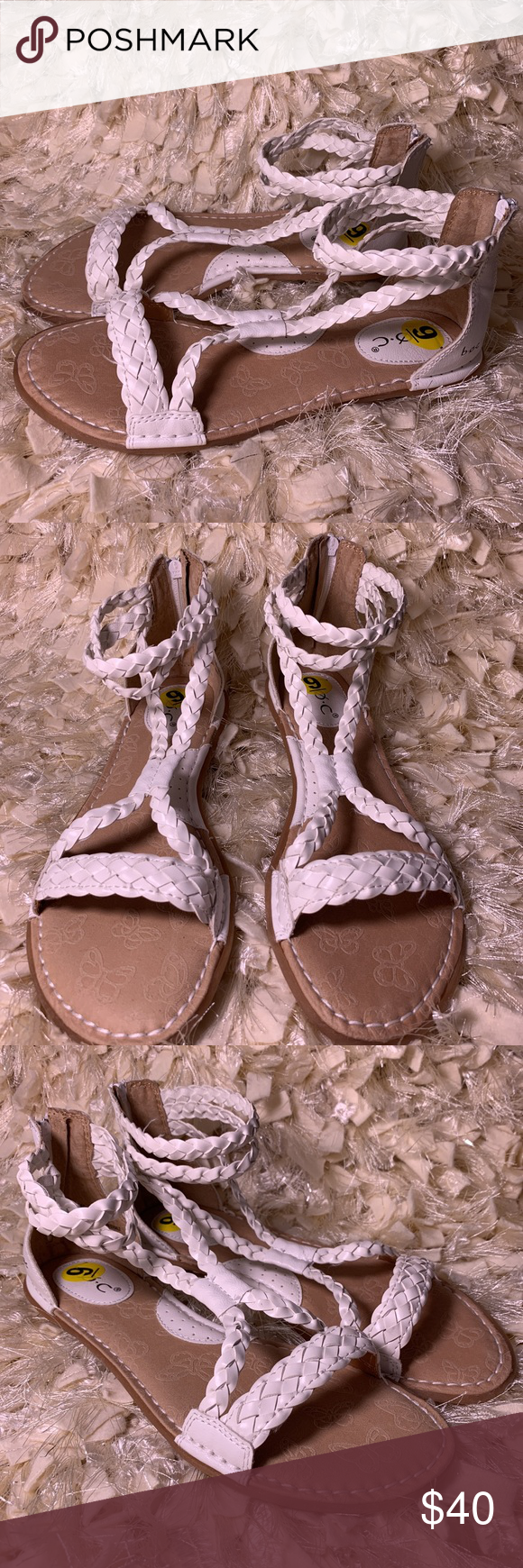 a5bb7b89567 BOC white strappy gladiator sandals size 9 BOC new without box size 9 white  strappy faux leather braided flat sandals gladiator boc Shoes Sandals