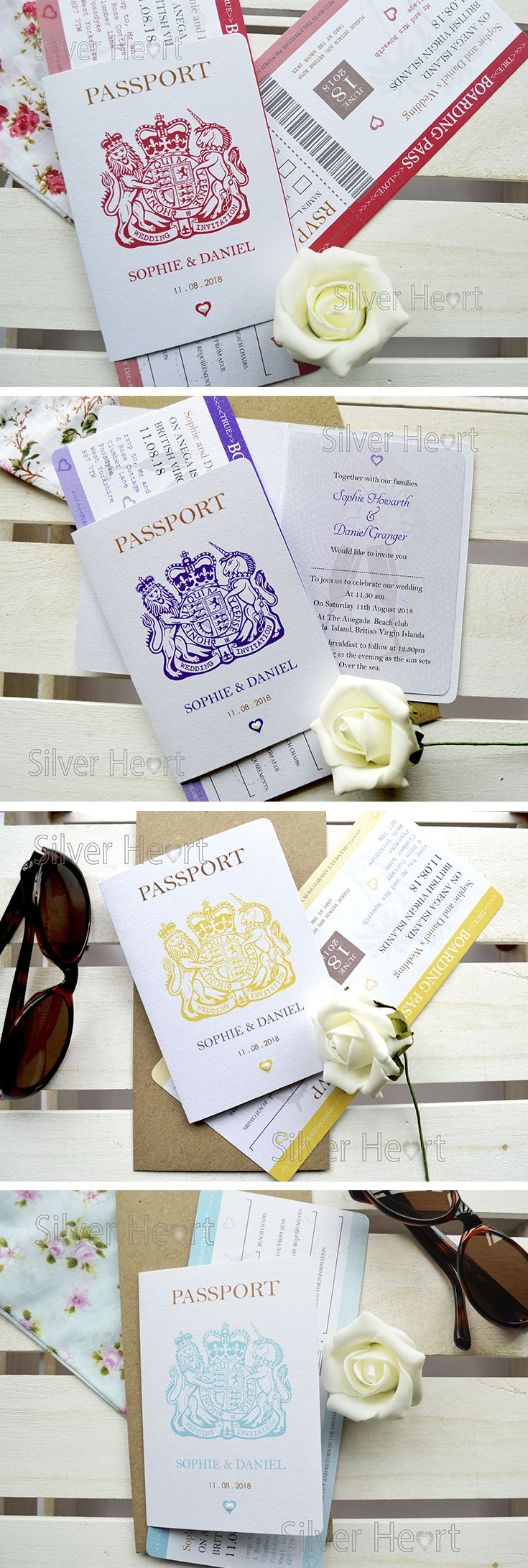 Pearl Passport Wedding Invitations and Boarding Pass RSVP with seed ...