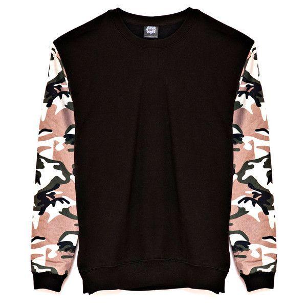 Camo Sleeve Black Sweatshirt
