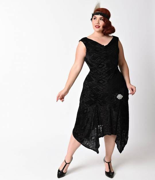 unique vintage plus size 1930s style black deco burnout velvet