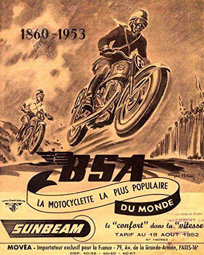 Bsa Sunbeam French Ad 1953 Fantastic A4 Glossy Print Taken