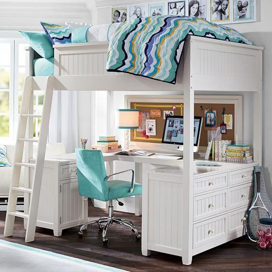 Beadboard Loft Bed Pbteen Loft Bunk Beds Girls