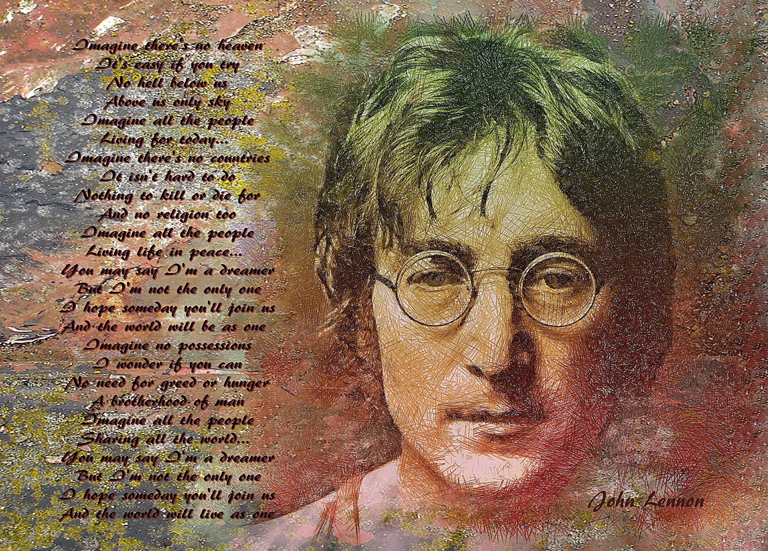 literary analysis of imagine by john lennon Lyrics to imagine song by john lennon: imagine there's no heaven it's easy if you try no hell below us above us only sky imagine all the pe.