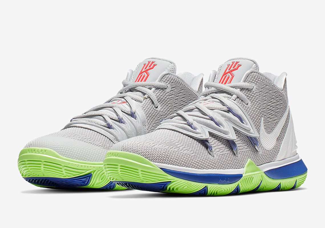 This Boys Exclusive Nike Kyrie 5 features Grey Lime And