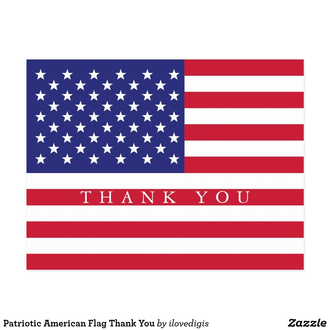 Patriotic American Flag Thank You Postcard Zazzle Com In 2020 Thank You Postcards American Flag Patriotic