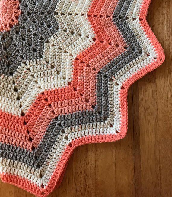 Chevron Crochet Baby Blanket Baby Girl Gift Shower Gift | Crochet ...