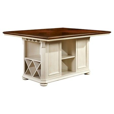 Martha Country Storage Counter Height Table   Cherry And White