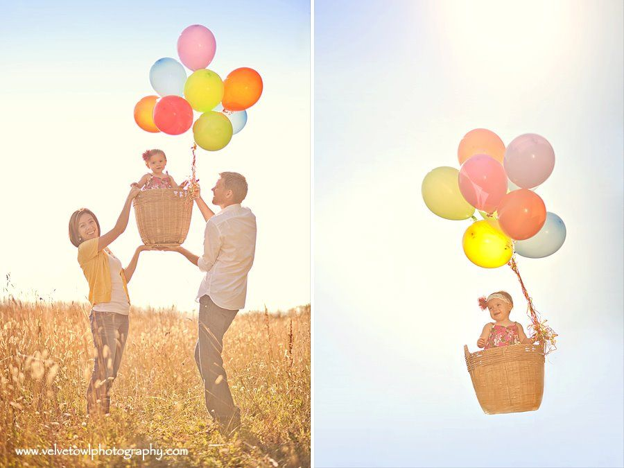Photoshopping parents out of pic(?) to make it look like baby is *up up and away* Great idea!